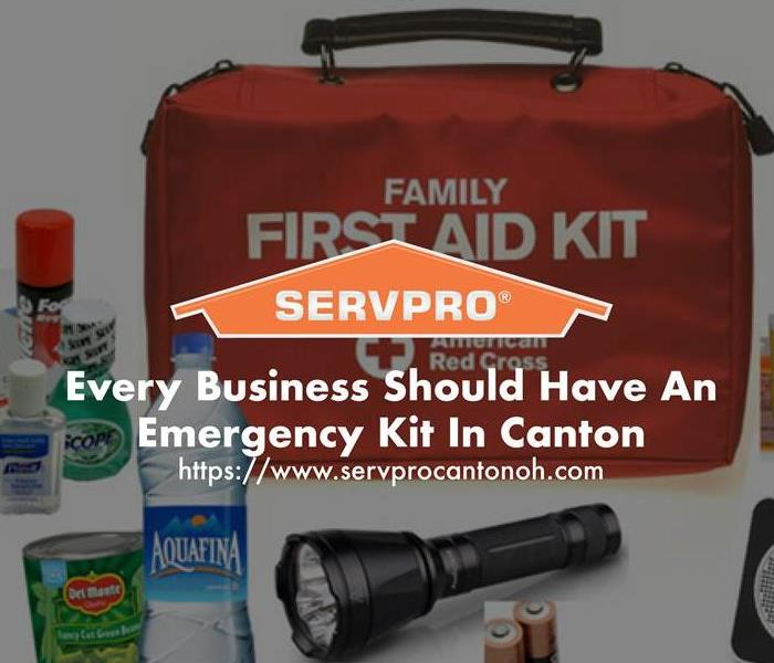 Orange SERVPRO  house logo on image with Emergency Kit and First Aid Kit in background