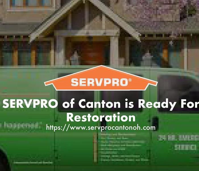 Orange SERVPRO house logo on image with green SERVPRO truck