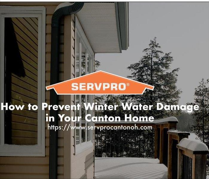 Orange SERVPRO  house logo on image with winter snow and water